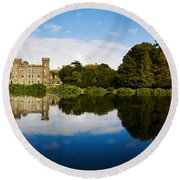 Reflection Of A Castle In Water Round Beach Towel