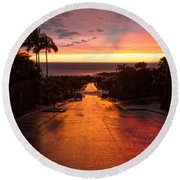 Sunset After Rain Round Beach Towel