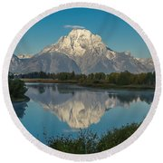 Reflections Of Mount Moran Round Beach Towel