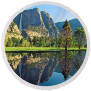 Reflections Of Yosemite Falls Round Beach Towel