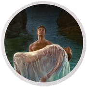 Round Beach Towel featuring the painting Resurrection by Mia Tavonatti