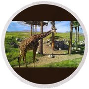 Reticulated Giraffe Round Beach Towel by Chris Tarpening