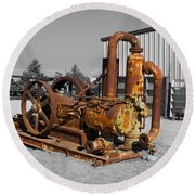 Retired Petroleum Pump Round Beach Towel by Richard J Cassato