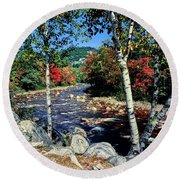 River Flowing Through A Forest, Swift Round Beach Towel