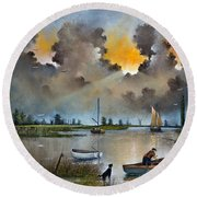 Round Beach Towel featuring the painting River Yare On The Broads by Ken Wood