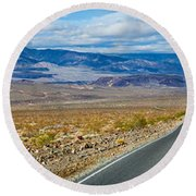 Road Passing Through A Desert, Death Round Beach Towel by Panoramic Images