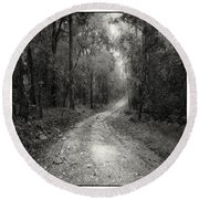 Road Way In Deep Forest Round Beach Towel