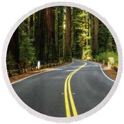 Road Winding Through Redwood Forest Round Beach Towel