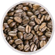 Round Beach Towel featuring the photograph Roasted Coffee Beans by Lee Avison