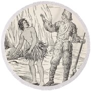 Robinson Crusoe And Friday Round Beach Towel