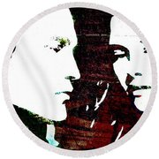 Round Beach Towel featuring the mixed media Robsten by Svelby Art