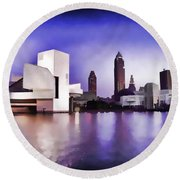 Round Beach Towel featuring the photograph Rock And Roll Hall Of Fame - Cleveland Ohio - 3 by Mark Madere