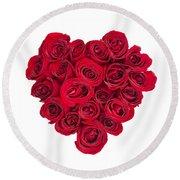 Rose Heart Round Beach Towel