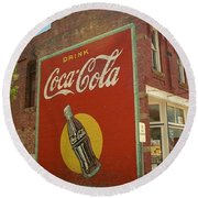 Route 66 - Coca Cola Ghost Mural Round Beach Towel by Frank Romeo