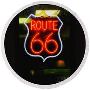 Round Beach Towel featuring the photograph Route 66 Edited by Kelly Awad