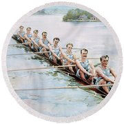 Rowing, C1900 Round Beach Towel