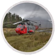 Royal Navy Sar Sea King Xz920 Glencoe Round Beach Towel by Gary Eason