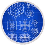 Rubik's Cube Patent 1983 - Blue Round Beach Towel by Stephen Younts