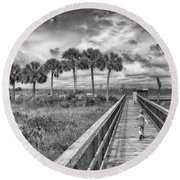 Round Beach Towel featuring the photograph Running by Howard Salmon