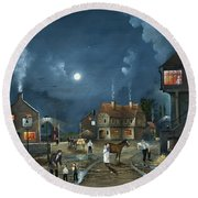 Round Beach Towel featuring the painting Rural Community by Ken Wood