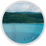 Sailboats On The Lake, Lac De Sainte Round Beach Towel