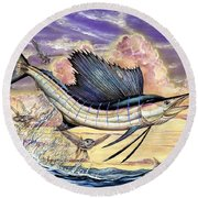 Sailfish And Flying Fish In The Sunset Round Beach Towel