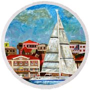 Sailing In Round Beach Towel
