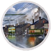 Round Beach Towel featuring the painting Salop Street Dudley C 1950 by Ken Wood