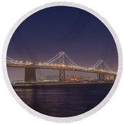 San Francisco Bay Bridge Round Beach Towel by James Hammond