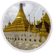 Round Beach Towel featuring the photograph Sandamuni Pagoda Mandalay Burma by Ralph A  Ledergerber-Photography