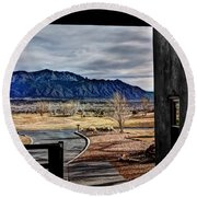 Sandia Mountains Round Beach Towel