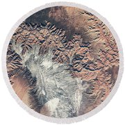 Satellite View Of Grand Canyon Round Beach Towel