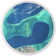 Satellite View Of Islands Of Bahamas Round Beach Towel
