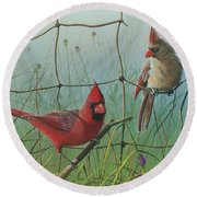 Round Beach Towel featuring the painting Scarlet by Mike Brown