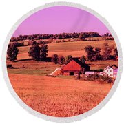 Scenic View Of A Farm, Amish Country Round Beach Towel