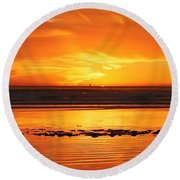 Seaside Reflections  Round Beach Towel