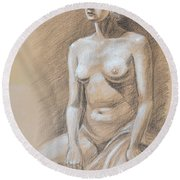 Seated Model Drawing  Round Beach Towel