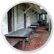 Secluded Portico Round Beach Towel