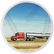 Semi Truck Moving On The Highway Round Beach Towel