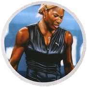 Serena Williams Round Beach Towel by Paul Meijering