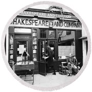 Shakespeare And Company Bookstore In Paris France Round Beach Towel
