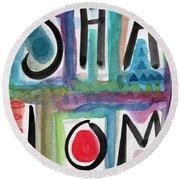 Shalom Round Beach Towel by Linda Woods