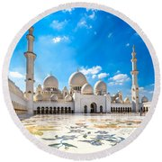 Sheikh Zayed Mosque - Abu Dhabi - Uae Round Beach Towel by Luciano Mortula