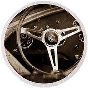 Shelby Ac Cobra Steering Wheel Emblem Round Beach Towel