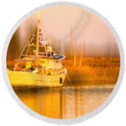 Ship At Dusk  Round Beach Towel by Frank Bright