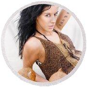 Shoreline Woman With Tattoos Round Beach Towel