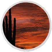 Silhouetted Saguaro Cactus Sunset At Dusk With Dramatic Clouds Round Beach Towel