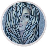 Silver Nymph 021109 Round Beach Towel by Selena Boron