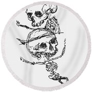 Skeletons, Illustration From Complainte De Loubli Et Des Morts Round Beach Towel