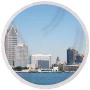 Skyline Detroit Mi Usa Round Beach Towel